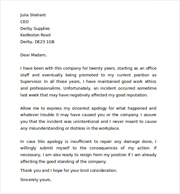 Apology Letter To Boss