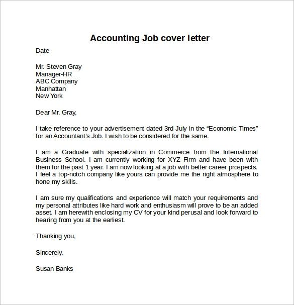 Cover letter example for job 10 download free documents for How to write a cover letter for accounting job