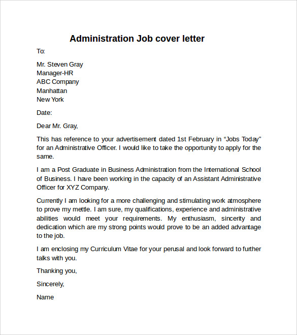Cover letter example for job 10 download free documents for Sample cover letters for administrative jobs