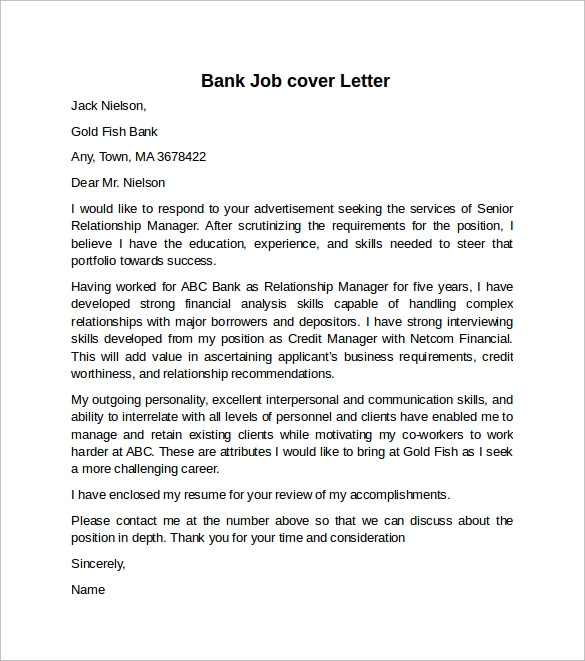 Cover letter example for job 10 download free documents for Sample of cover letter for banking job