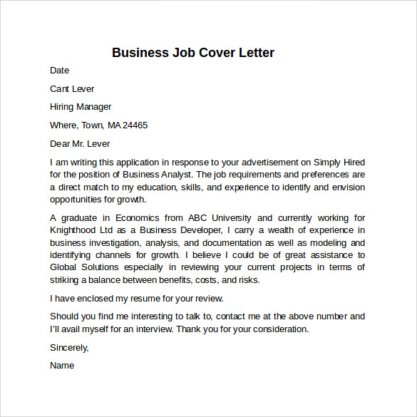Cover Letter Example for Job - 10+ Download Free Documents in Word