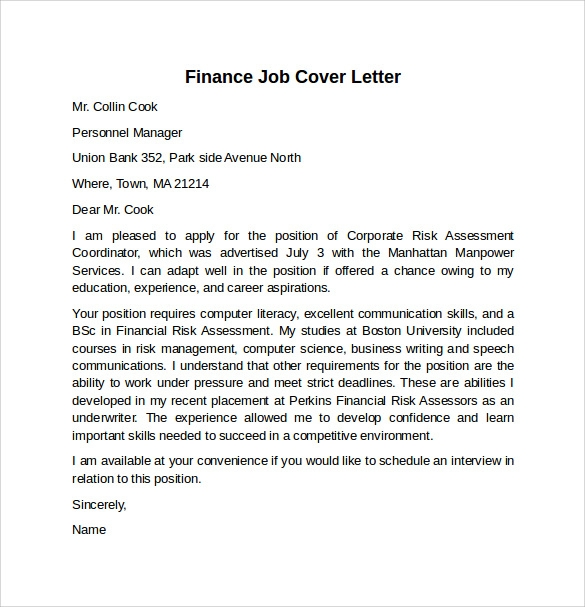 Cover letter examples finance position