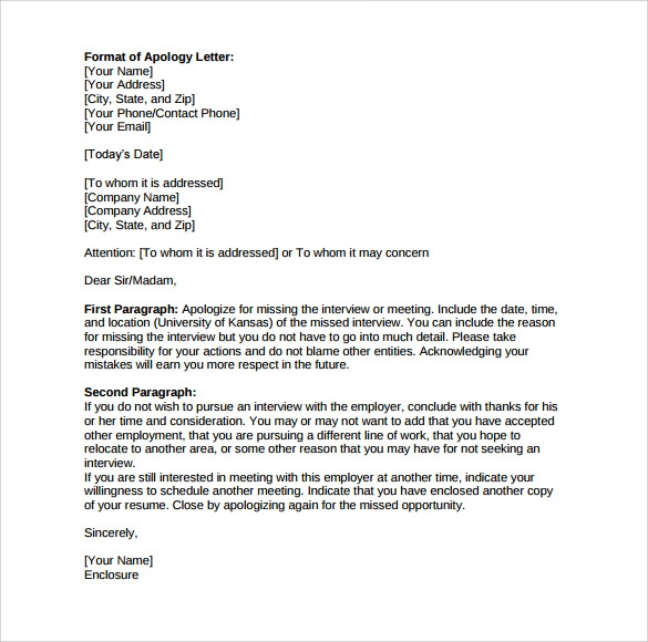 Sample Work Apology Letter   Free Documents Download In Word Pdf