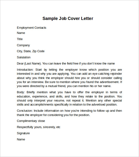 free letter format cover letter example for 10 free documents 21853 | Sample Job Cover Letter Example