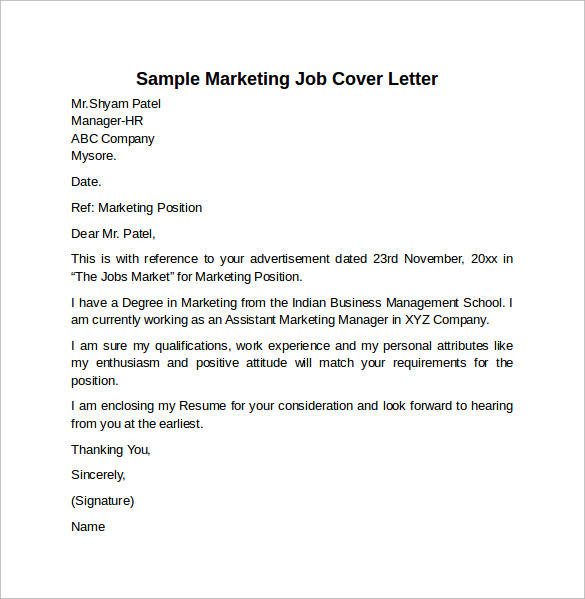 cover letter sales marketing internship