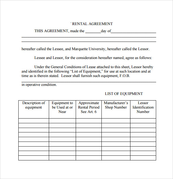 rental agreement template download for free