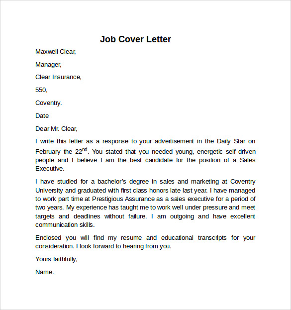 Job Application Letter Summer Job
