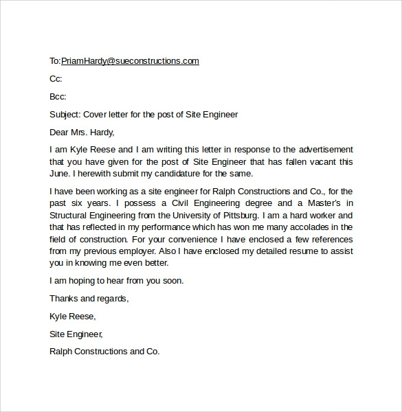 email cover letter example 10 download free documents in pdf word - Email Cover Letter Example