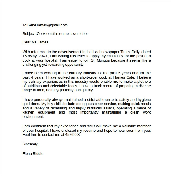 Email Cover Letter Template  Sample Email Cover Letters
