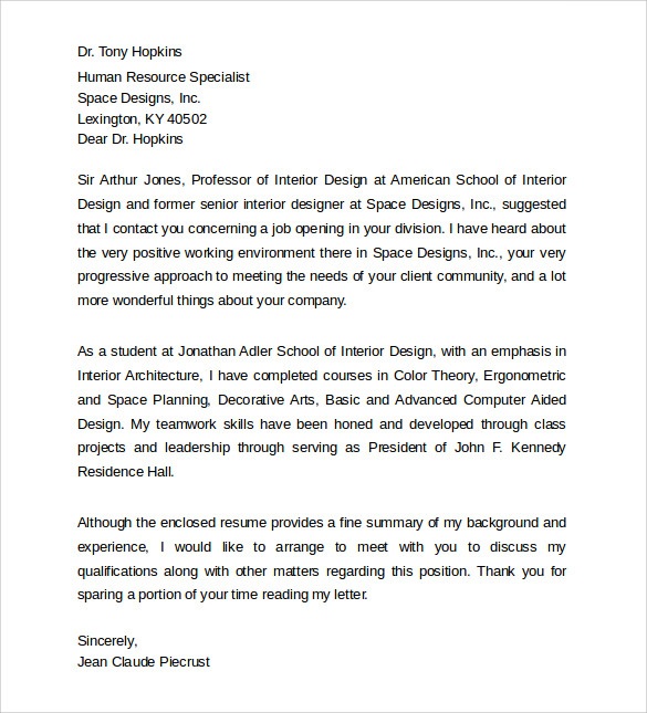 Cover Letter For Interior Design Resume in Resume Interior Design ...