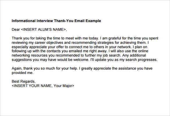 thank you interview email samples