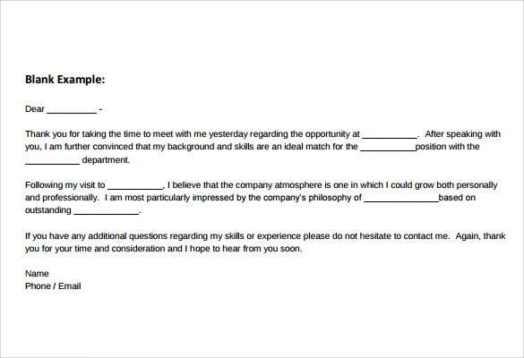 Sample Thank You Note After Phone Interview   Documents In Pdf