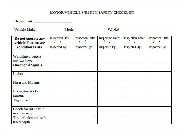 Weekly Checklist Weekly Calendar Daily Form – Sample Weekly Checklist Template