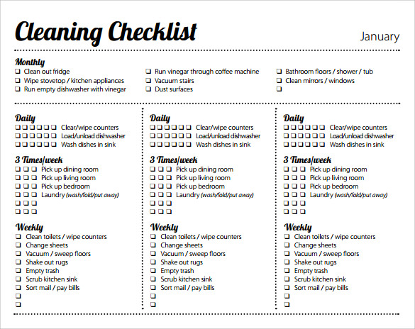 Sample Weekly Checklist Template 10 Free Documents In Pdf Word