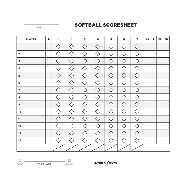 8 sample phase 10 score sheet templates sample templates for Softball scorecard template