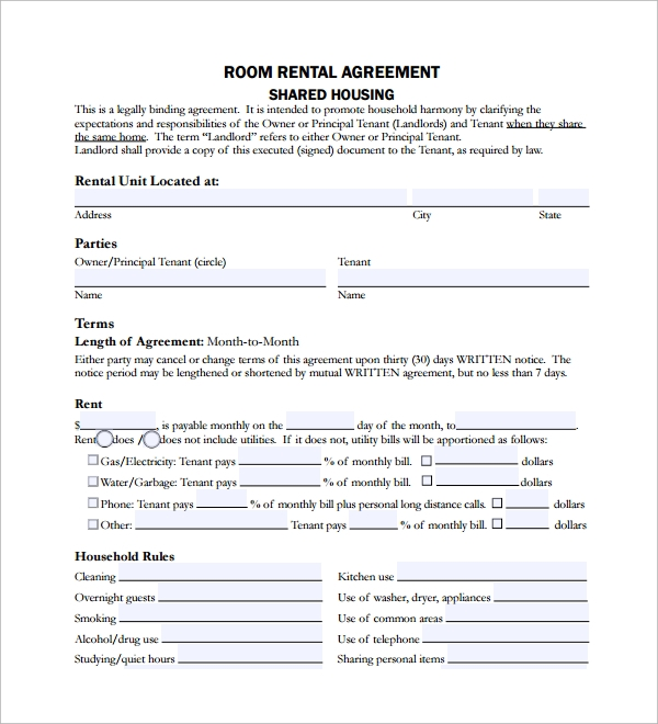 Sample Room Lease Agreement   Free Documents Download In Word Pdf