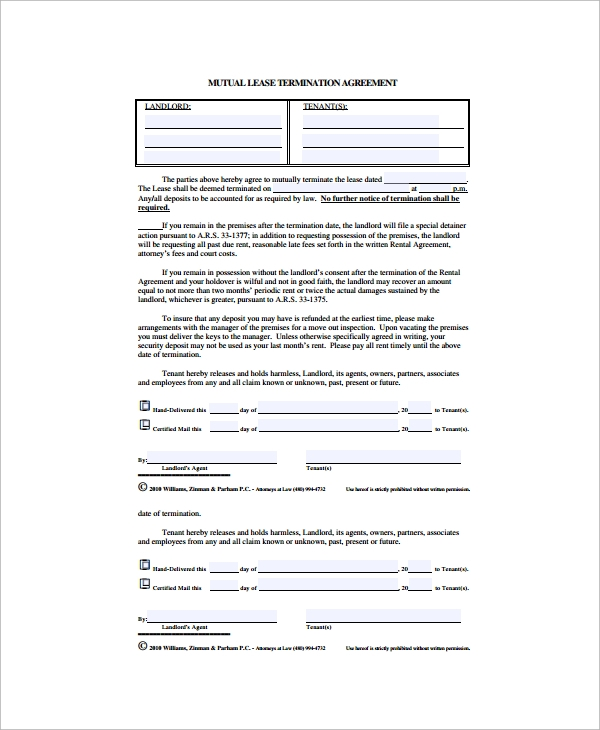 Sample Lease Termination Agreement  Free Documents Download In