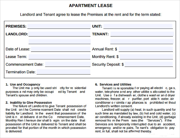 Sample Apartment Lease Agreement 6 Documents In Word PDF – Sample Apartment Lease Agreement Template