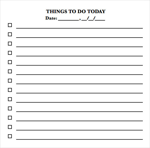 Sample To Do Checklist   Documents In Pdf Word