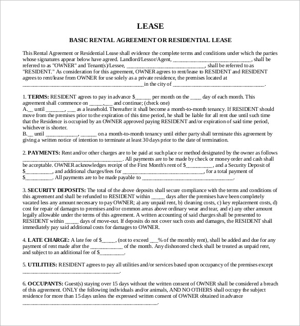 Sample Rental Lease Agreement 9 Free Documents in PDF Word – Basic Lease Agreements