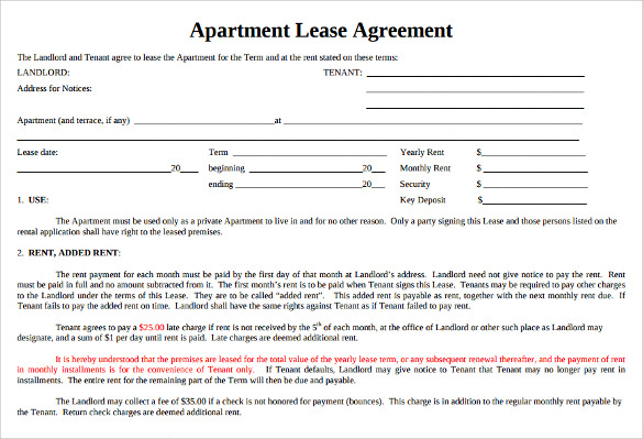 Sample Apartment Lease Agreement   Documents In Word Pdf