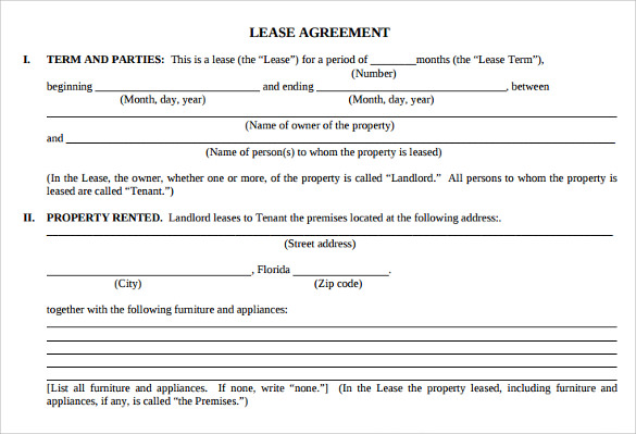 7  sample apartment lease agreements