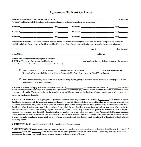 Sample Rental Lease Agreement 9 Free Documents in PDF Word – Free Printable Rental Lease Agreement