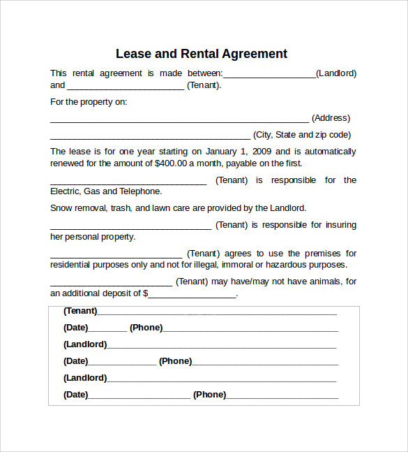 Sample Rental Lease Agreement 9 Free Documents in PDF Word – Lease Agreement Example