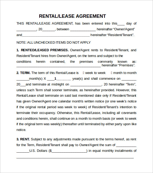 Sample Rental Lease Agreement 9 Free Documents in PDF Word – Lease Agreement Sample