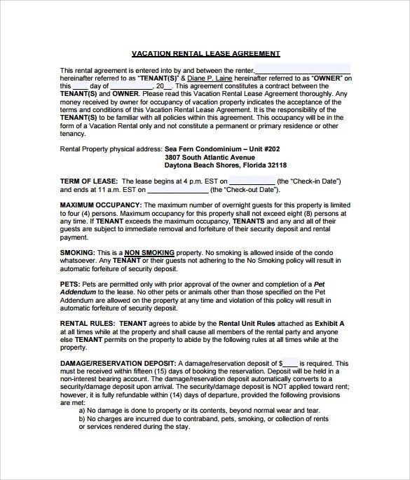 apartment rental agreement template .