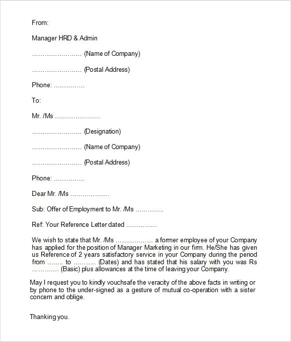 Employment Verification Letter Format  Employment Verification Letter Template Microsoft