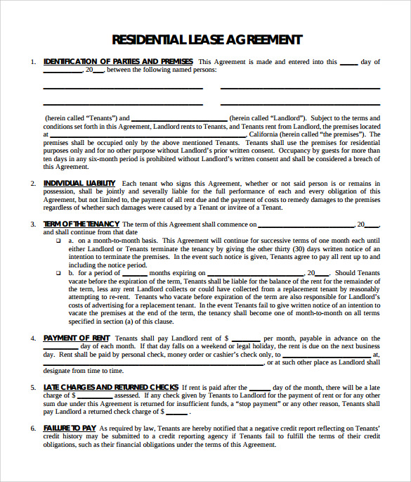 Sample Residential Lease Agreement 9 Documents in PDF – Residential Lease