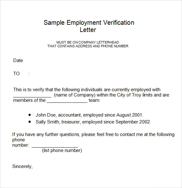 18 employment verification letter templates download for free sample templates. Black Bedroom Furniture Sets. Home Design Ideas