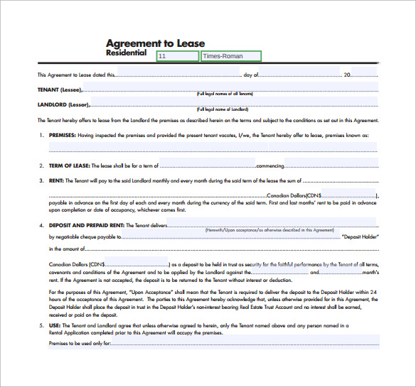 11 Residential Lease Agreement Templates Word Pdf