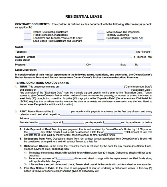 residential lease agreement to download