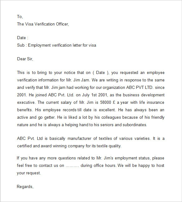 employment verification request template