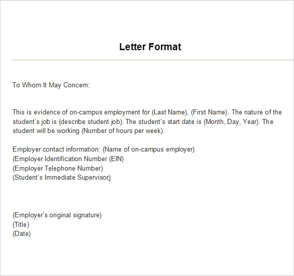 Superior Example Of Employment Verification Letter Inside Employment Verification Letter Template Word