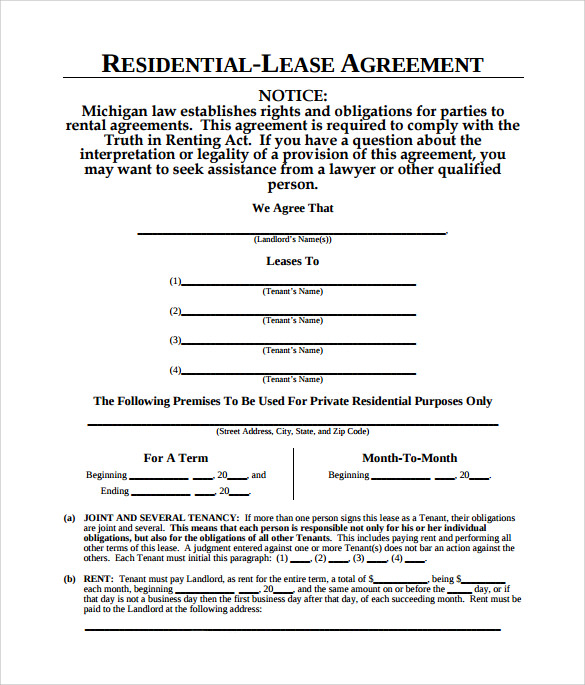 Sample Residential Lease Agreement 9 Documents in PDF – Residential Lease Agreements