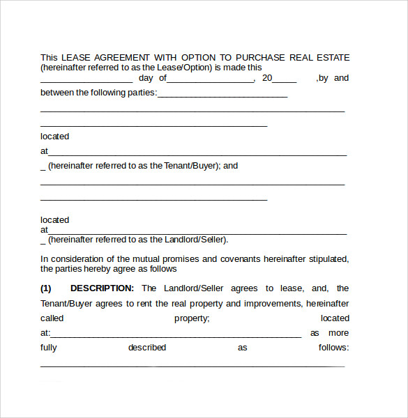 Sample Lease Purchase Agreement   Free Documents In Pdf Word