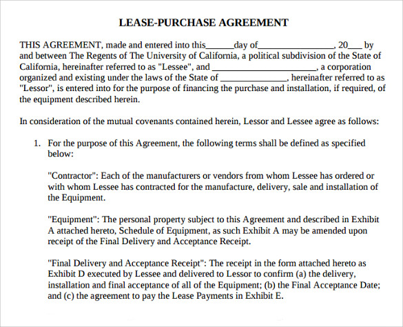 Sample Lease Purchase Agreement - 8+ Free Documents In Pdf, Word