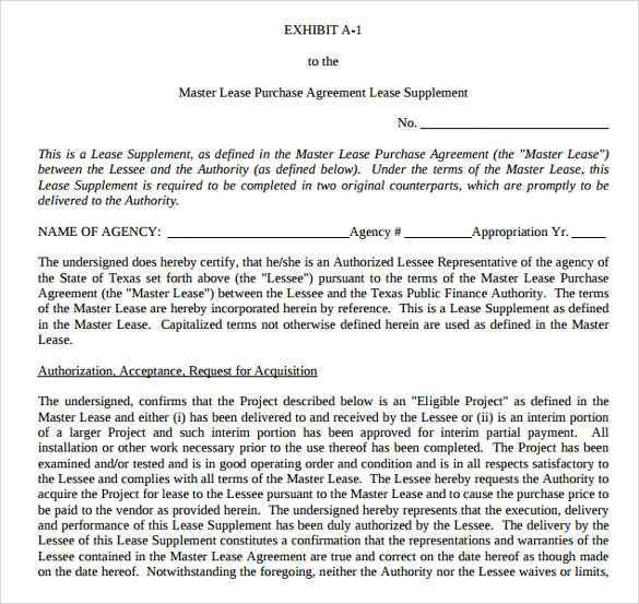 Master Lease Purchase Agreement  Lease To Buy Agreement Template