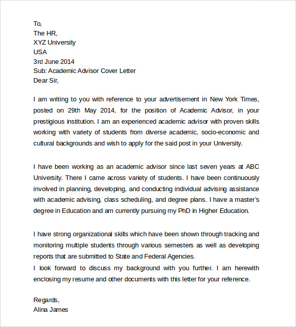 sample of academic advisor cover letter