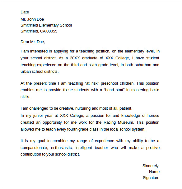 cover letter sample for education