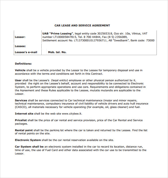 car payment contract template free .