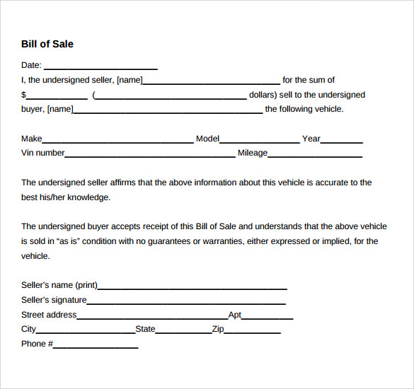 Sample Car Bill Of Sale   Documents In  Word