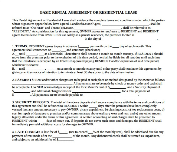 basic residential lease agreement1