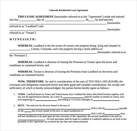 sample house lease agreement