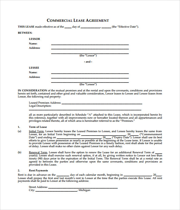 commercial lease agreement template .