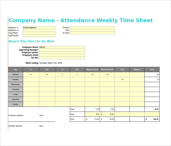 Sample Payroll Time Sheet Calculator   Documents In Pdf Excel