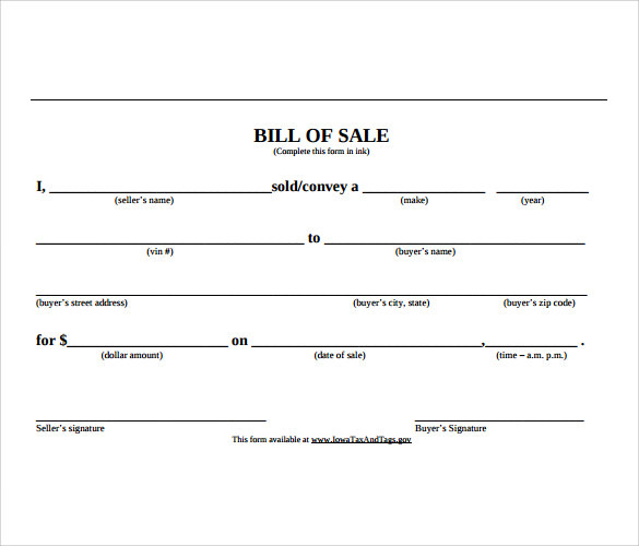 sample car bill of sale template 6 free documents in